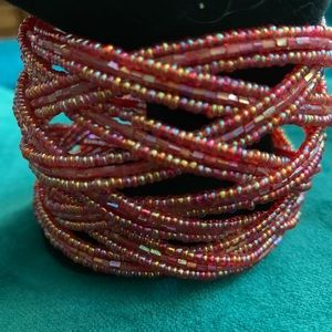 Premier Designs Red Beaded Bracelet-Adjustable
